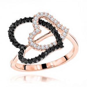 WHITE BLACK DIAMOND HEART RING