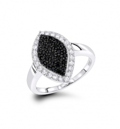 WHITE BLACK PAVE DIAMOND RING