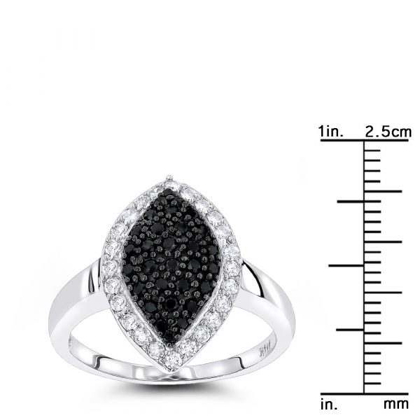 WHITE BLACK PAVE DIAMOND RING