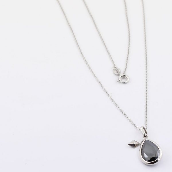 Pear Shape Black Diamond Pendant