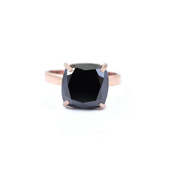 3ct cushion cut black diamond ring