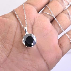 Black Diamond Solitaire Pendant