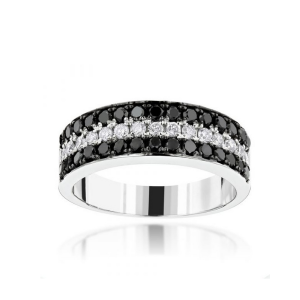 UNIQUE 3 ROW WHITE BLACK DIAMOND WEDDING BAND