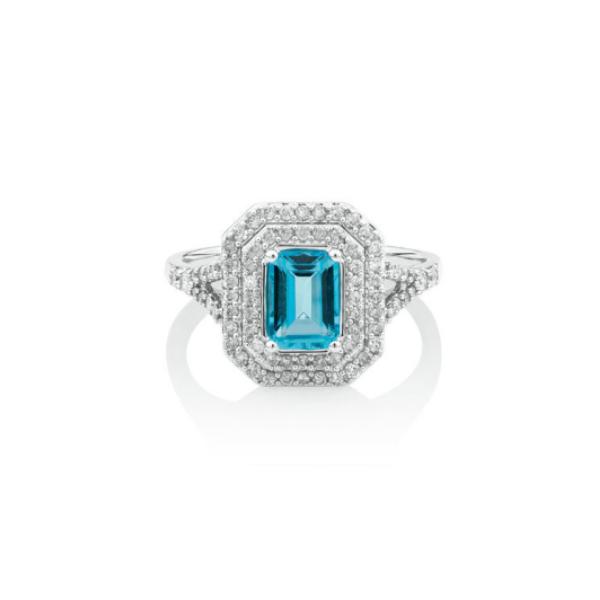 emerald cut blur topaz ring