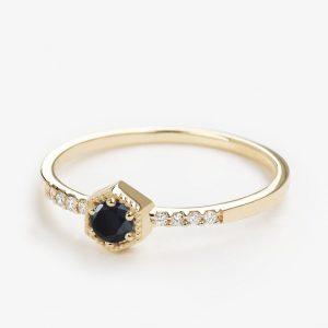 hexagon diamond engagement ring