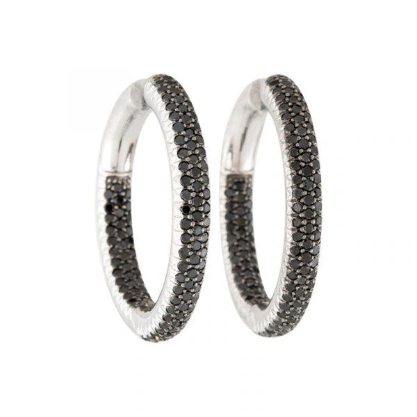 hoop black diamond earrings