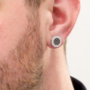 black diamond mens earring