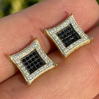 black & white diamond stud earring