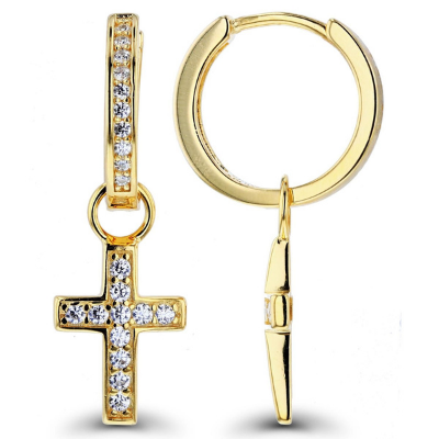 cross diamond earring