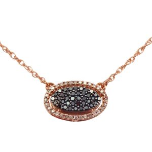 Rose Gold Oval Black Diamond Cluster Halo Necklace